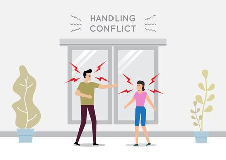 The design concept Man and woman arguing on the street. Vector illustration Illustration