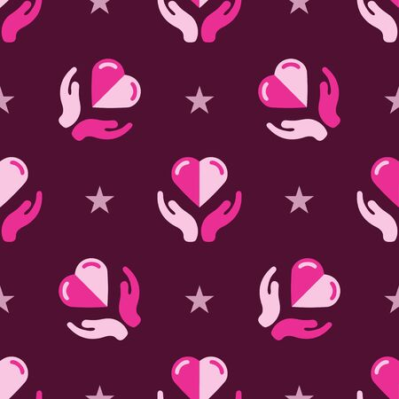 Seamless two hands holding a heart flat pattern on maroon background