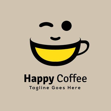 DIGITAL Custom logo design, happy coffee cup logo, Elegant coffee logo design inspiration