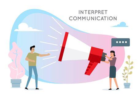 The design concept of woman talking through a megaphone. Vector Illustration
