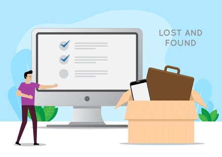 The design concept Man using computer to look for lost and found. Vector illustration