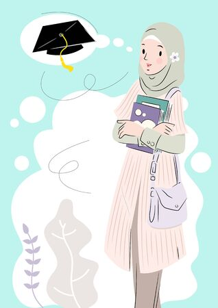 Illustration of Muslim woman dreaming about graduation day Stock Illustratie