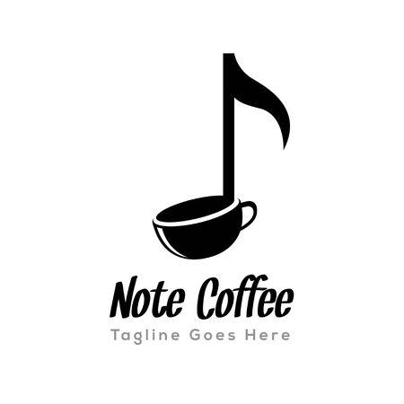 DIGITAL Custom logo design, note music coffee cup logo, Elegant coffee logo design inspiration
