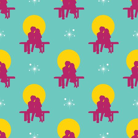 Seamless a couple sitting together flat pattern on a teal background