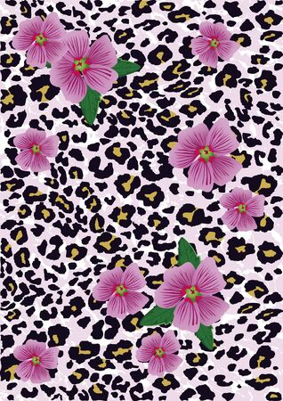 Flowers with leopard background. Vector illustration