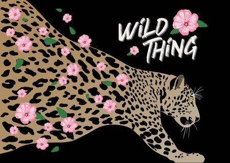 Leopard with spotted skin pattern and flowers flowing through. Vector illustration