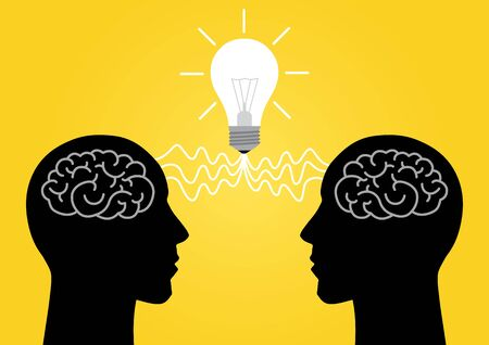 illustration of silhouette of two persons head sharing ideas