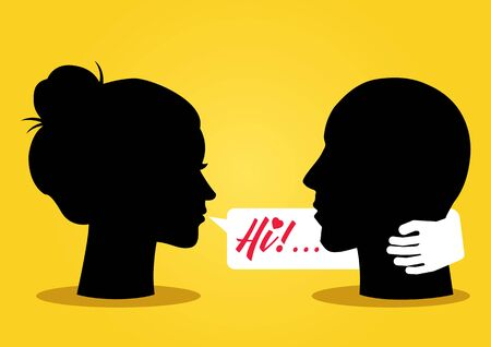 illustration of silhouette of a woman head flirting with a man with bubble talk Stock Illustratie