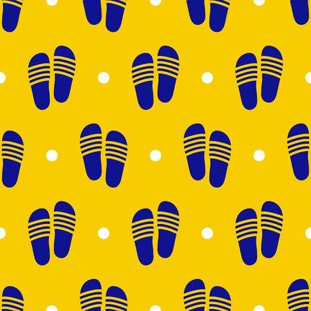 Seamless blue sandals flat pattern on bright yellow background