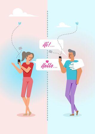 A Vector cartoon illustration of man and woman flirting on media social application Stock Illustratie