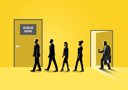 Illustration of business people group sitting in line queue door Çizim