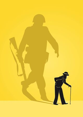 An Illustration of old man concept, old men walking with his soldier shadow reflection Stock Illustratie