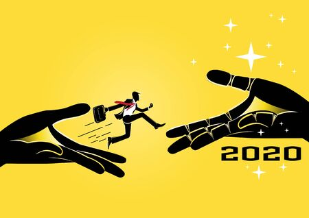 Businessman jump through the gap obstacles between giant hands to year 2020 and success. Running and jump over giant hands. Business risk and success concept. Cartoon Vector Illustration.