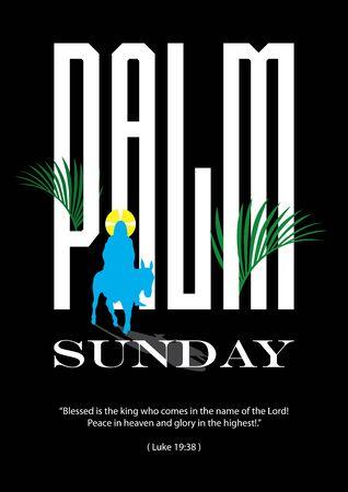 Illustration of Jesus Christ riding donkey on large size text on the background