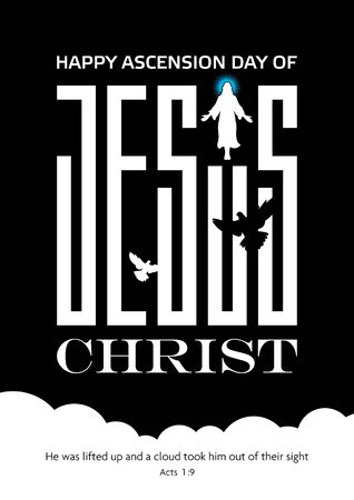 An illustration of the ascension day of Jesus Christ in black and white Illustration