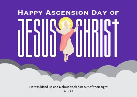 An illustration of the ascension day of Jesus Christ with large text on the background 일러스트