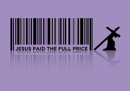 Eine Illustration eines Strichcodes als Symbol für Jesus zahlte den vollen Preis Vektorgrafik