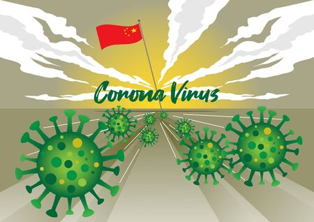 An illustration of corona virus spreading globally from china