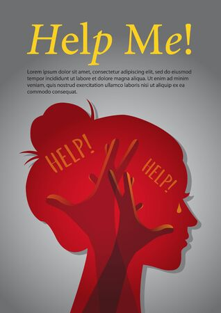 Inside the woman's head, crying for help concept. Hands up as symbol of hopelessness. Vector illustration isolated on grey
