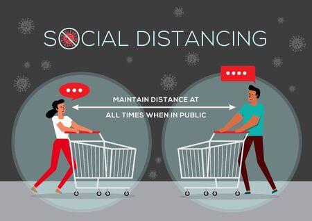 An illustration of People in Queue, Social Distancing Concept Vektorgrafik