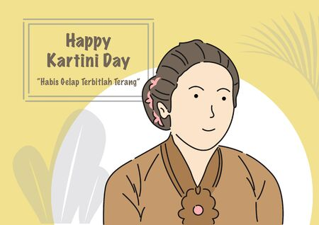 An illustration of Kartini Day Celebration. Habis gelap terbitlah terang means After Darkness comes Light