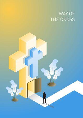 Modern isometric giant Cross with door open. Way of the Cross. Vector illustration