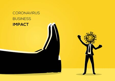 An illustration of a businessman knocked down by Corona virus
