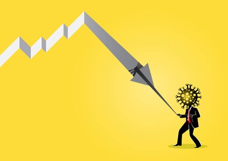 An illustration of world economy growth is pulling down by Corona virus