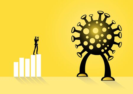 An illustration of a businessman looking future standing on the graph
