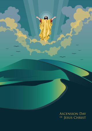 An illustration of the ascension day of Jesus Christ Ilustración de vector