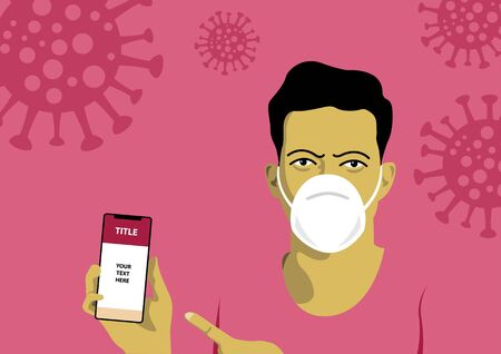 An illustration of a man holding mobile phone with mask protection