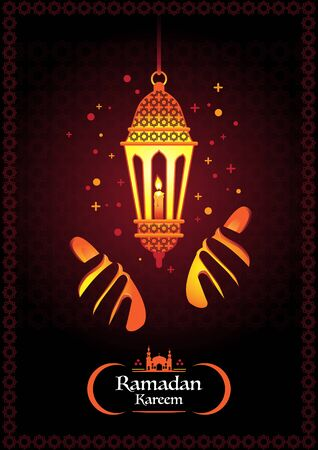 Ramadan kareem with arabic  traditional lantern and islamic ornamental colorful detail of mosaic for islamic greeting. 向量圖像