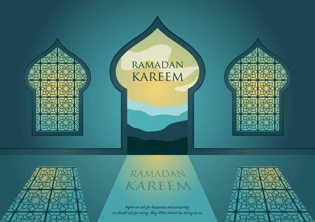 Ramadan kareem with arabic traditional window and islamic ornamental detail of mosaic for islamic greeting.