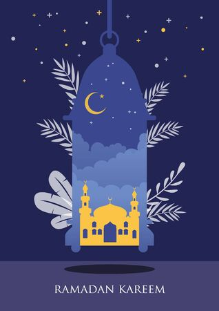 Ramadan kareem with arabic traditional lantern and islamic ornamental detail of mosaic for islamic greeting.