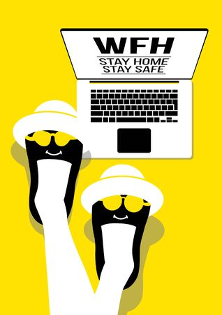 An illustration of people work from home on yellow background