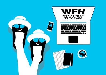An illustration of people work from home on blue background
