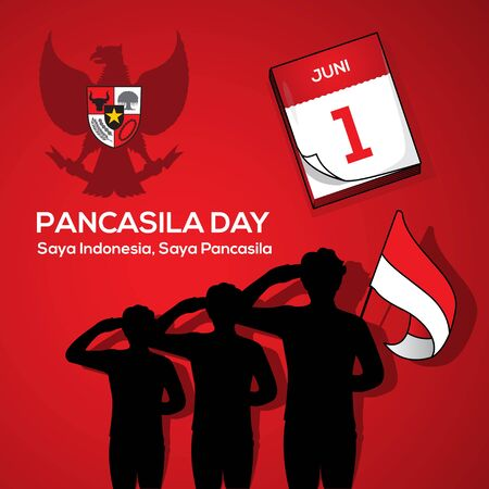An Illustration of man salute to Pancasila, marks the date of Sukarno's 1945 address on the national ideology. Saya Indonesia Saya Pancasila means I am Indonesia I am Pancasila. Vector Illustration