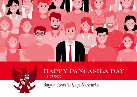 An Illustration of diversity of Indonesian people. Pancasila, marks the date of Sukarno's 1945 address on the national ideology. Saya Indonesia Saya Pancasila means I am Indonesia I am Pancasila 向量圖像