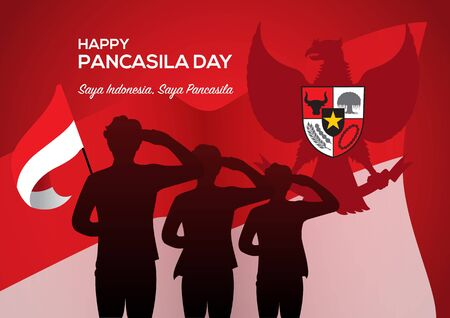An Illustration of man salute to Pancasila, marks the date of Sukarno's 1945 address on the national ideology. Saya Indonesia Saya Pancasila means I am Indonesia I am Pancasila