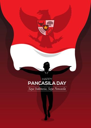 An Illustration of man holding a national flag. Pancasila, marks the date of Sukarno's 1945 address on the national ideology. Saya Indonesia Saya Pancasila means I am Indonesia I am Pancasila
