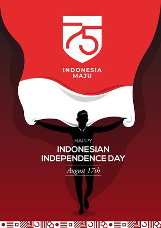 An Illustration of a man holding a national flag with a 75th logo Indonesia Independence Day. Indonesia maju means Indonesia is progressing