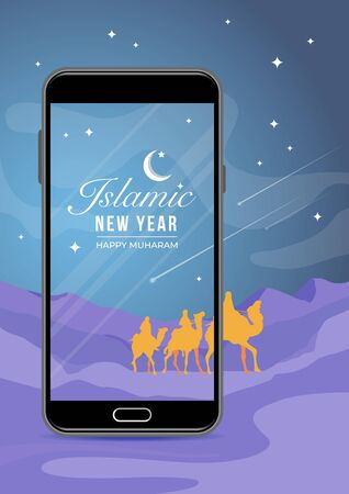 An illustration of Islamic New Year on Smartphone screen in desert background