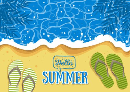 An illustration of wavy water and sandals summer background