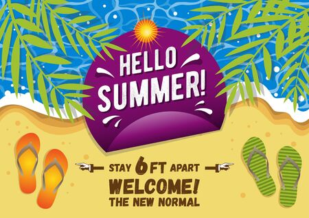 Illustration of Hello Summer. Welcome to the new normal concept. 向量圖像