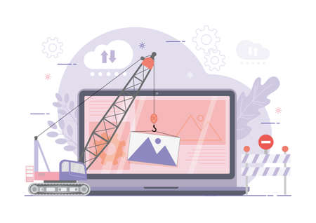 An illustration of Site under construction. Web page building process. Modern vector illustration concept.