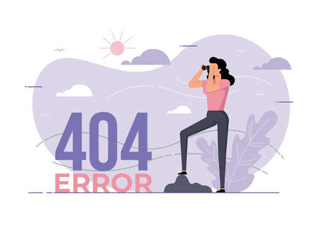 An illustration for page 404 Error with a woman looking through binoculars. Page is lost and not found message.