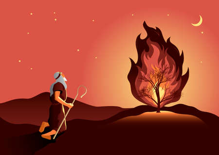 An illustration of Moses and the burning bush. Biblical series