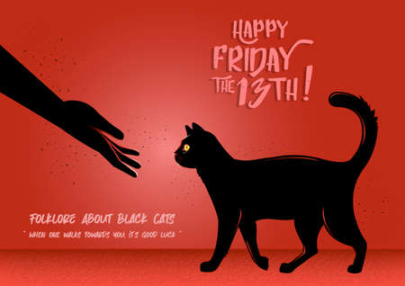 An Illustration of a black cat walking towards hand on a red background