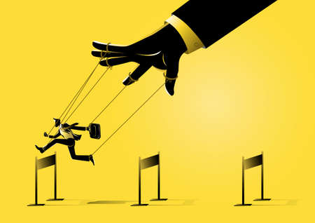 An illustration of a puppet master controlling silhouette of businessman run and jumping across hurdles obstacle