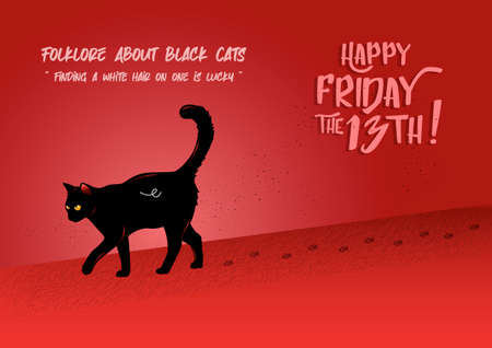 Illustration of a black cat walking with its footprints on a red background
